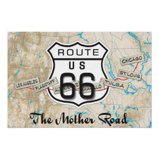 add your photos Route 66 Map Poster