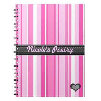 Add Your Phrase Pink Stripes Notebook