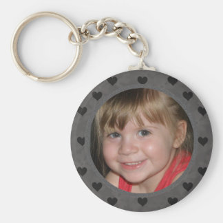 Add Your Picture: Black Heart Framed Keychain