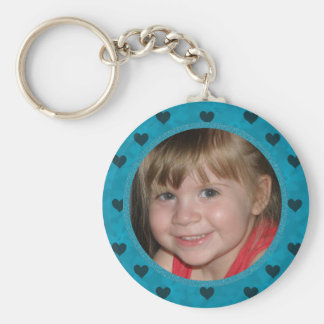 Add Your Picture: Blue Heart Framed Keychain