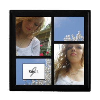 Add Your Picture: Monogram Jewelry Box: Blue Skies Keepsake Box
