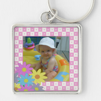 Add Your Picture: Pink and White Frame Keychain