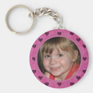 Add Your Picture: Pink Heart Framed Keychain