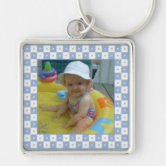 Add Your Picture: Purple and White Frame Keychain