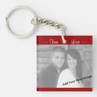 Add Your Picture, True Love Red Photo Key Chain