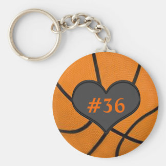 Add Your Team Players Number Basketball Key Chain
