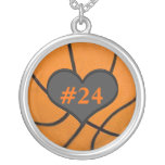 Add Your Team Players Number Basketball Necklace