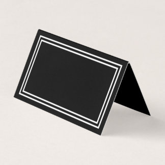 Add Your Text Black with Double White Borders Place Card