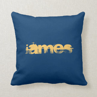 ADD YOUR TEXT!BLUE PILLOW WITH YELLOW TEXT DESIGN