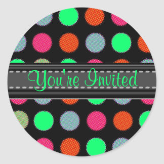 Add Your Text Gree Accent Party Polka Dot Stickers
