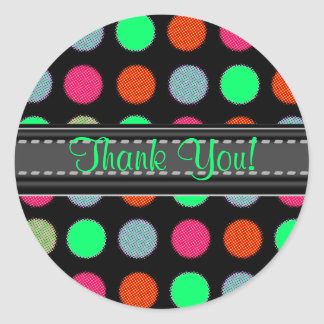 Add Your Text Green Thank You Polka Dot Stickers