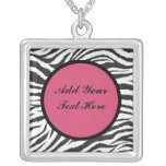 ADD YOUR TEXT HERE-NECKLACE-ZEBRA PRINT SQUARE PENDANT NECKLACE