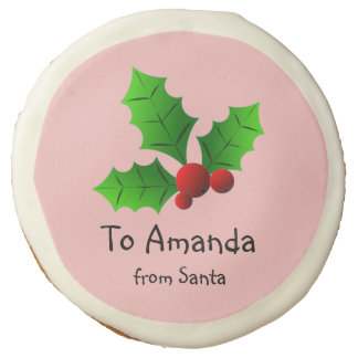 """Add Your Text"" Holly Berry Sugar Cookie"