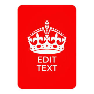 Add Your Text KEEP CALM CROWN on Red Customize it! Card