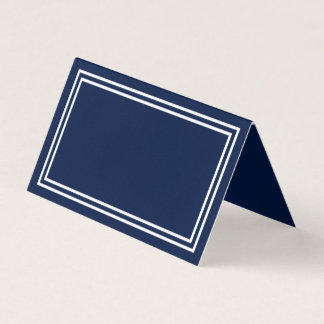Add Your Text Navy Blue with Double White Borders Place Card