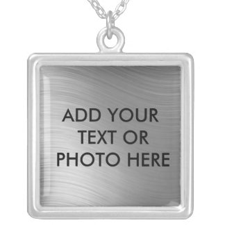 ADD YOUR TEXT OR PHOTO HERE-NECKLACE SQUARE PENDANT NECKLACE