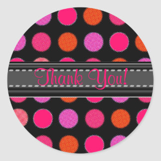 Add Your Text Pink Thank You Polka Dot Stickers