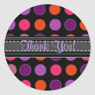 Add Your Text Purple Thank You Polka Dot Stickers