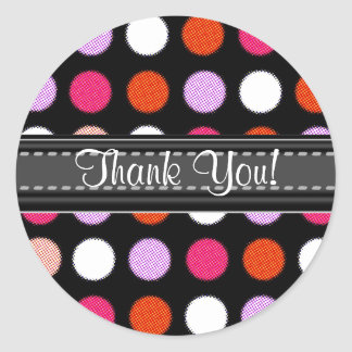 Add Your Text Thank You Polka Dot Stickers