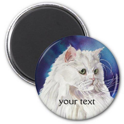 Add Your Text White Persian Cat Art Fridge Magnet