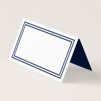 Add Your Text White with Double Navy Blue Borders Place Card