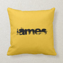 ADD YOUR TEXT!YELLOW/BLACK,REVERSED COLORS PILLOW