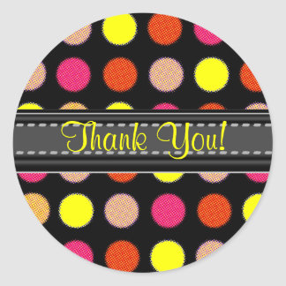 Add Your Text Yellow Thank You Polka Dot Stickers