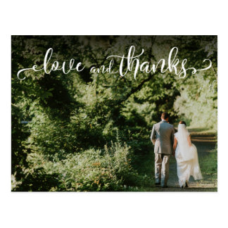 Add Your Wedding Photo, Elegant Love and Thanks Postcard