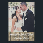 """Add Your Wedding Photo Happily Ever After Faux Canvas Print<br><div class=""""desc"""">Add your wedding photo to this faux canvas wall hanging. It&#39;s an affordable way to display your wedding or family photos throughout the house. The bottom of the photo features a barn board look with the quote Happily Ever After Starts Here =====DESIGN TIP===== Use the customize button to resize, crop,...</div>"""