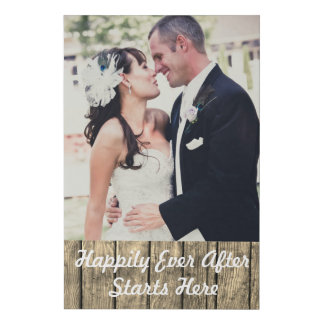 Add Your Wedding Photo Happily Ever After Faux Canvas Print