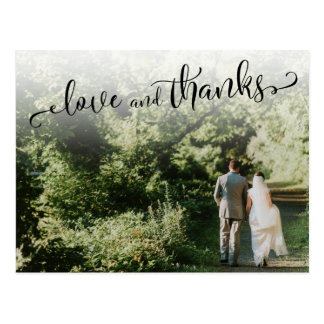 Add Your Wedding Photo, Script Love and Thanks Postcard