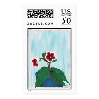 Add your words, gloxinia flower postage stamps