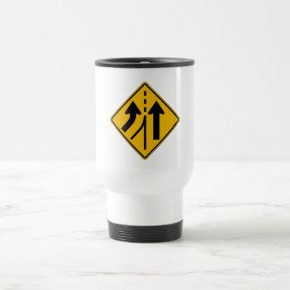 Added Lane Left, Traffic Warning Sign, USA Coffee Mugs