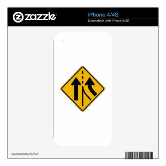 Added Lane Right, Traffic Warning Sign, USA iPhone 4S Skin