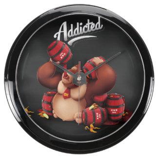 Addicted Monkey, on black Fish Tank Clock