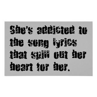 ADDICTED SONG LYRICS HEART SPILL SAD EMO COMMENTS POSTER
