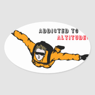 Addicted to Altitude Skydiver Oval Sticker