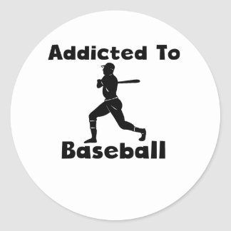 Addicted To Baseball Classic Round Sticker