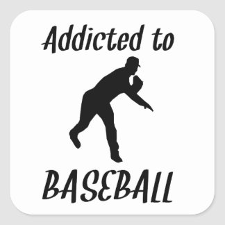 Addicted To Baseball Square Sticker