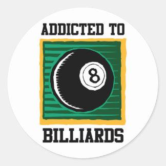 Addicted To Billiards Classic Round Sticker