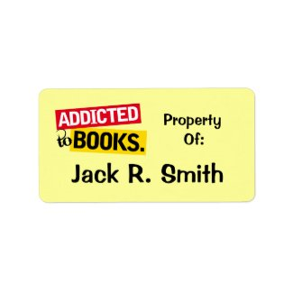 Addicted To Books Label Bookplate Stickers Gift label