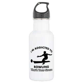 addicted to bowling 18oz water bottle