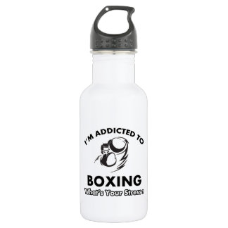 addicted to boxing 18oz water bottle