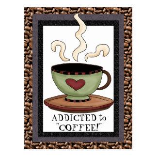 Addicted to coffee cartoon postcard