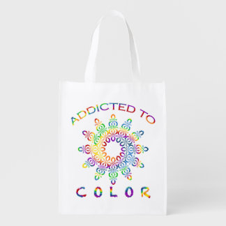 Addicted to Color Rainbow Mandala for Colorists Grocery Bag