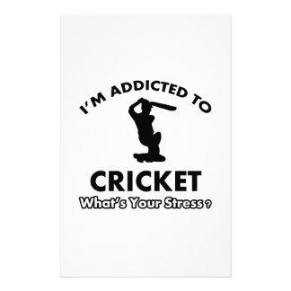 addicted to cricket stationery design