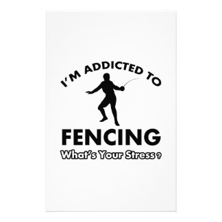 addicted to fencing customized stationery