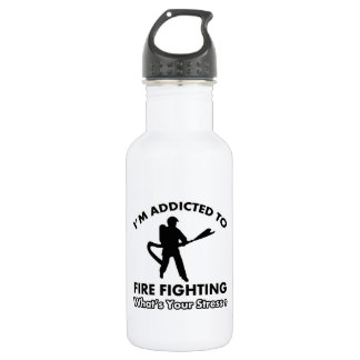 addicted to firefighting 18oz water bottle