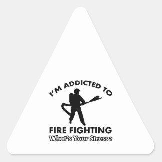 addicted to firefighting triangle sticker