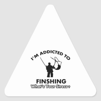 addicted to fishing triangle sticker